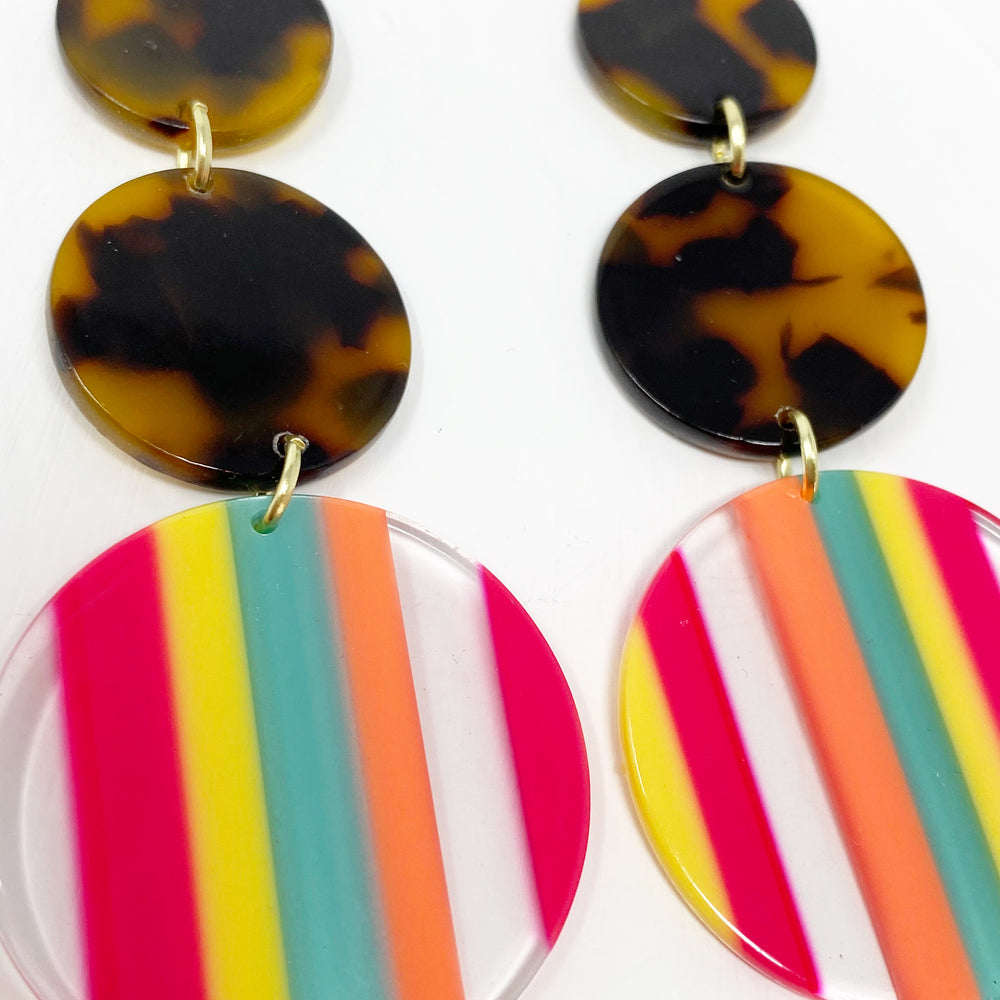 Dot Drop Earrings in Neon Stripe