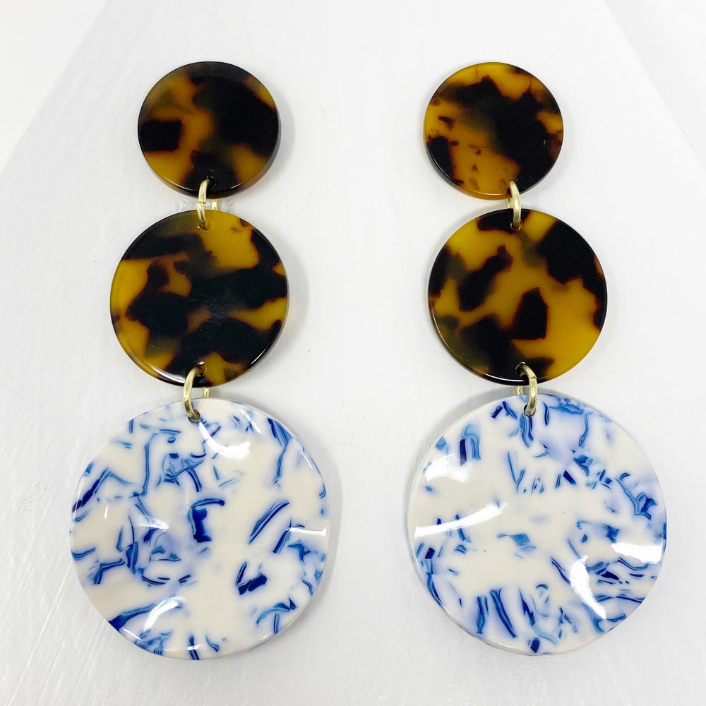 Dot Drop Earrings in White and Blue