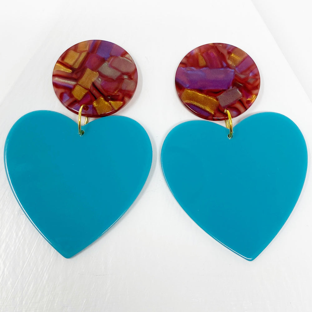 Heart Earrings in Blue