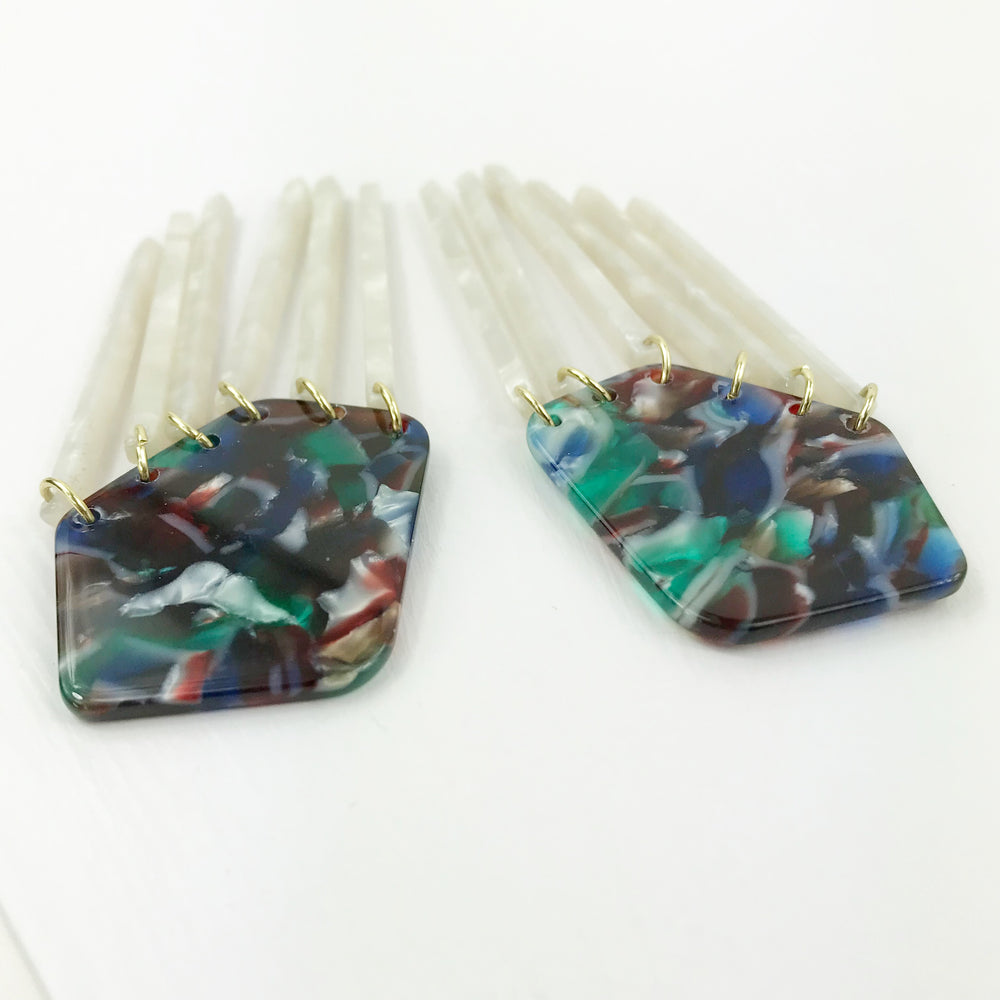 Shield Earrings in Green, Blue and Red with White Fringe