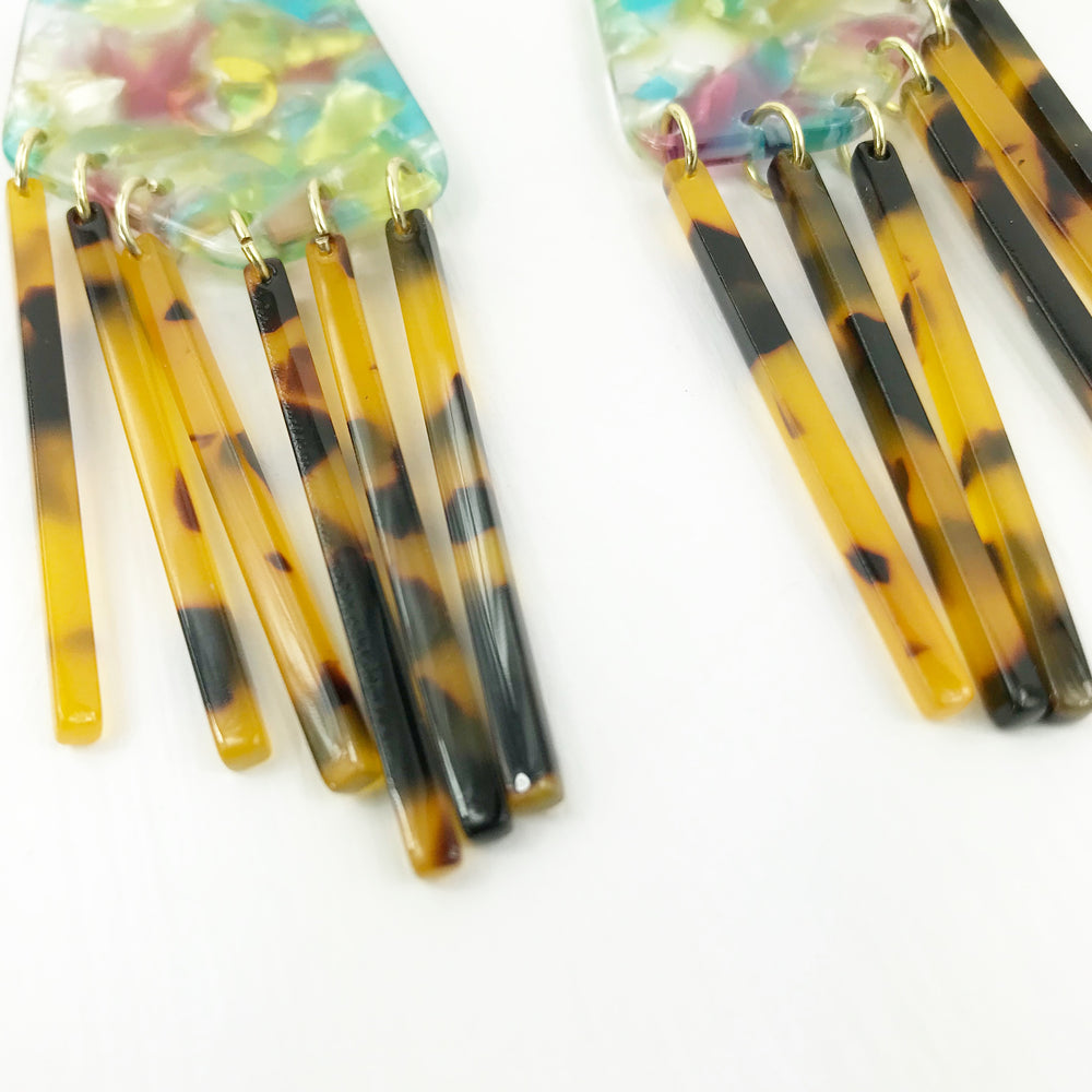 Shield Earrings in Pink, Yellow and Blue with Tortoise Fringe
