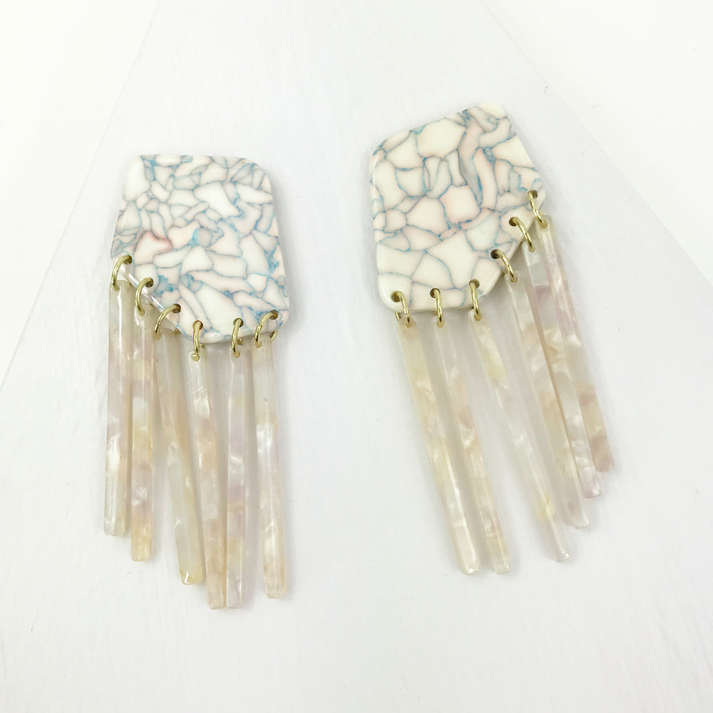 Shield Earrings in Pink Crackle with Pink Fringe