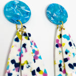 Petal Drops in White, Pink, Yellow and Blue with Bright Blue Stud