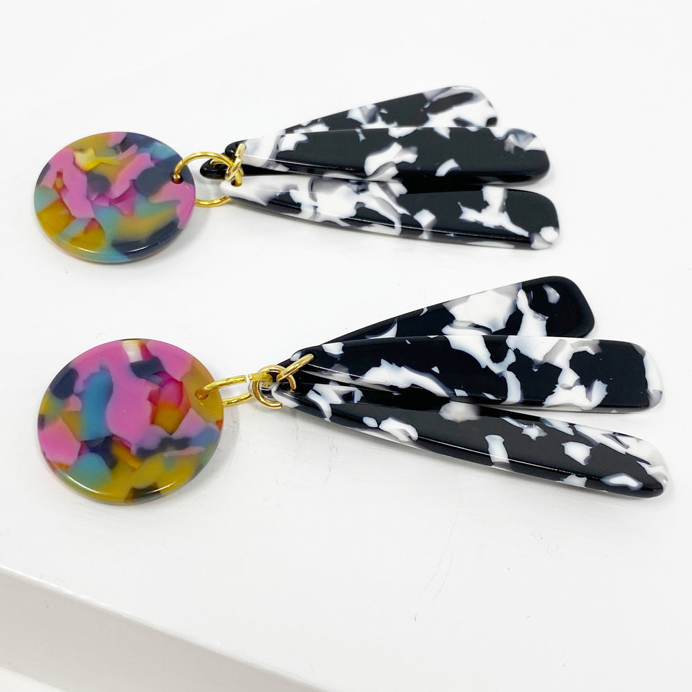 Petal Drops in Black and White with Pink, Yellow and Blue Stud