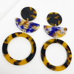 Hoop and Half Moon Drop Earrings in Purple and Amber