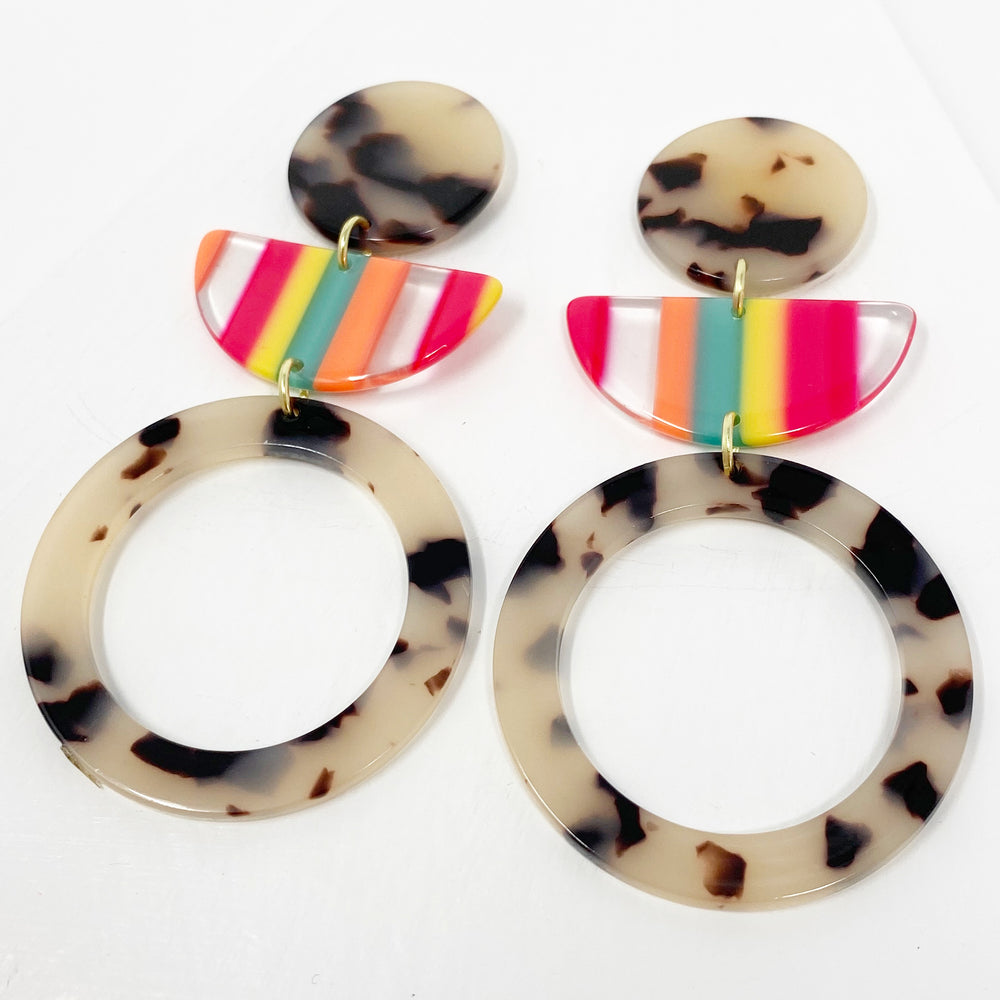 Hoop and Half Moon Drop Earrings in Neon Stripe