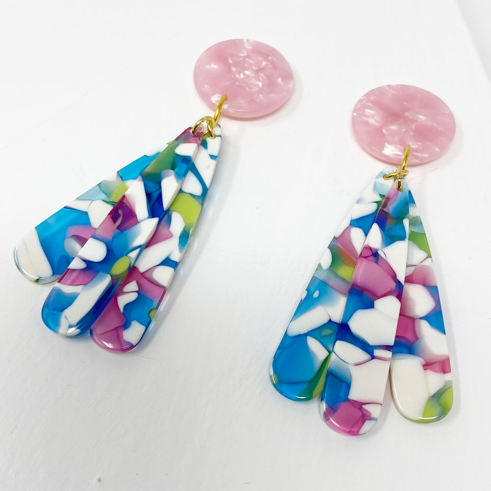 Petal Drops in White, Blue, Pink and Green with Pink Stud