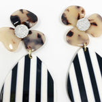 Crystal Water Poppy in Blond Tortoise with Black and White Stripe Teardrop