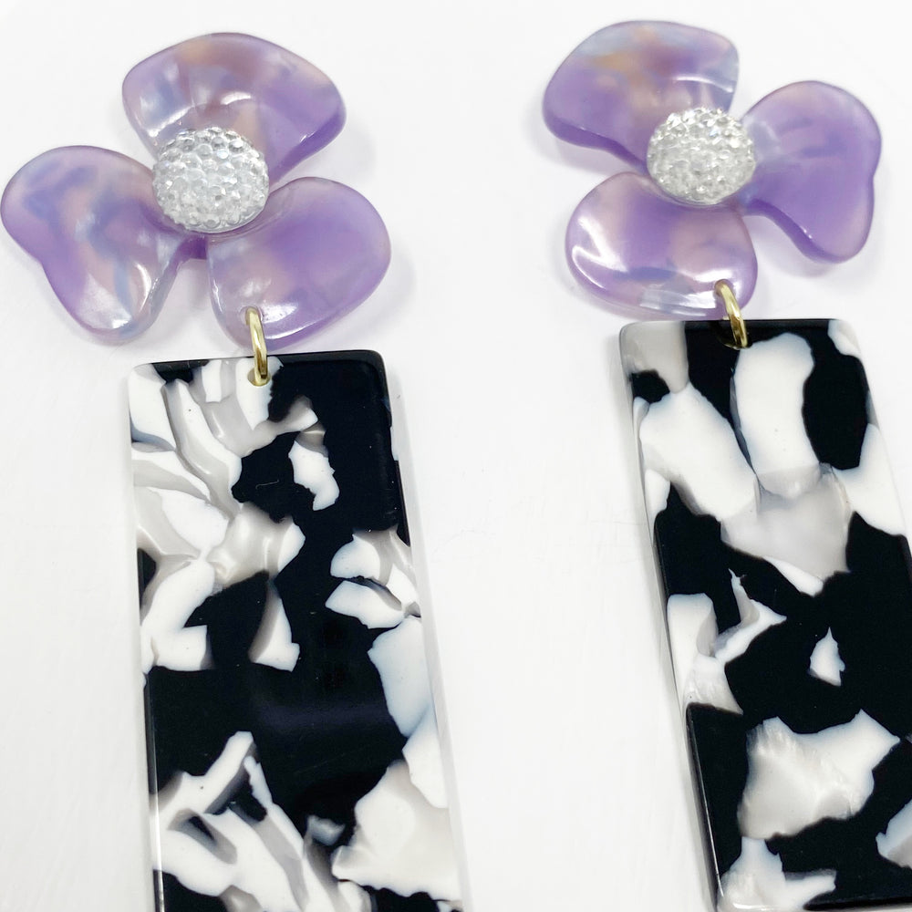 Crystal Water Poppy in Purple with Black and White Rectangle Drop