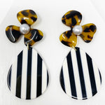 Pearl Water Poppy in Tortoise with Black and White Stripe Teardrop