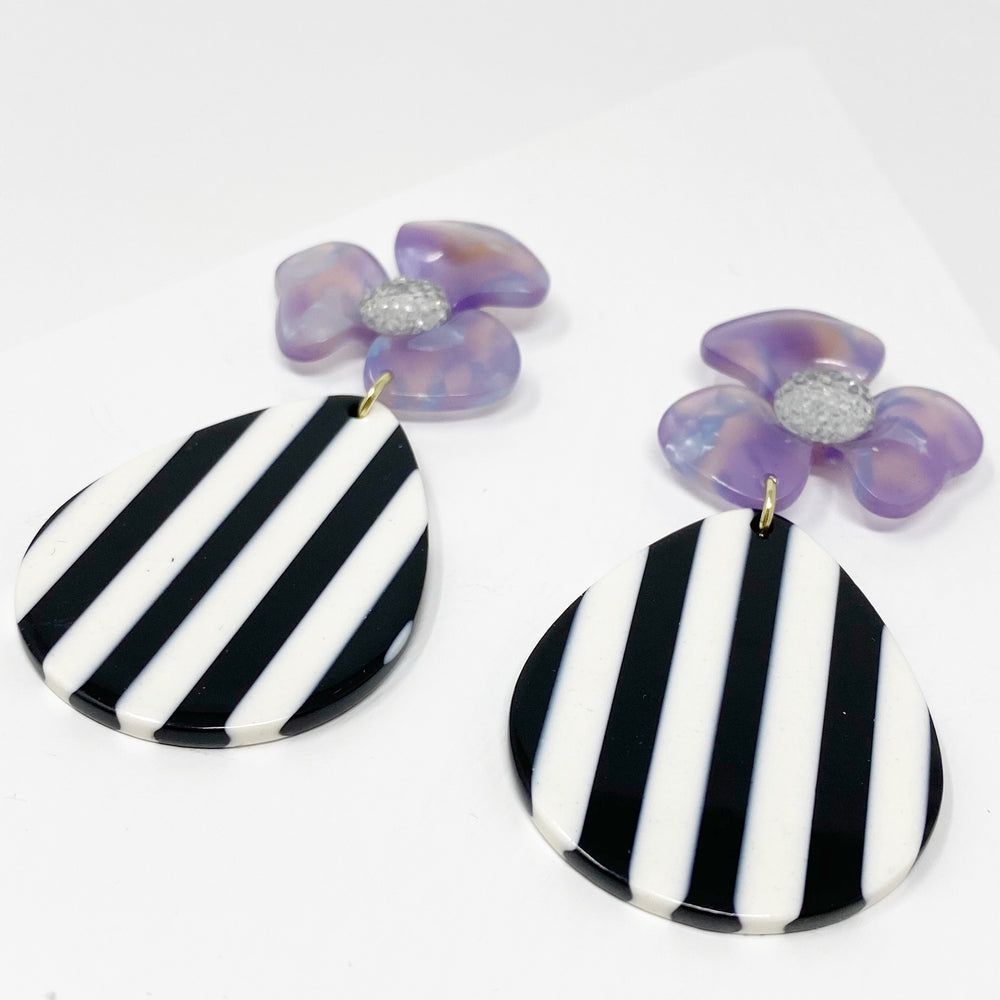 Crystal Water Poppy in Purple with Black and White Stripe Teardrop