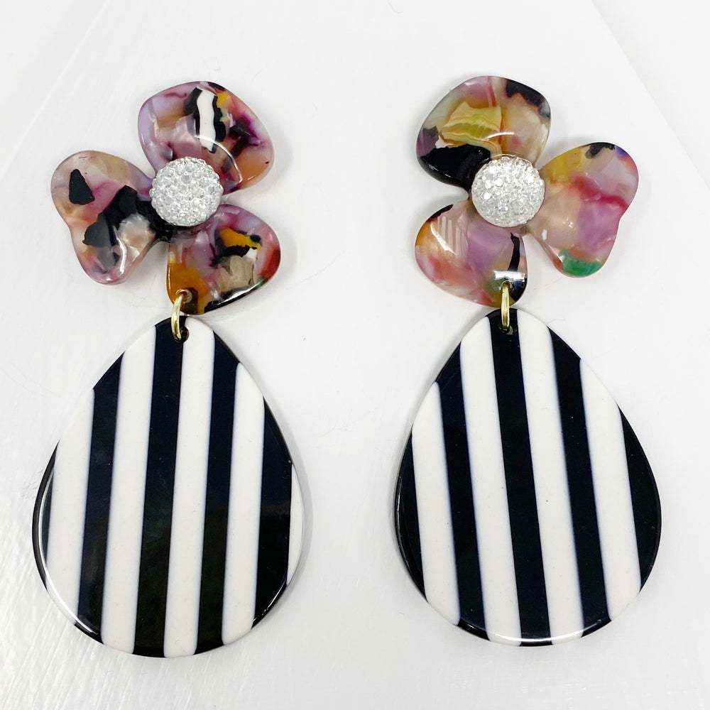 Crystal Water Poppy in Multicolor with Black and White Stripe Teardrop
