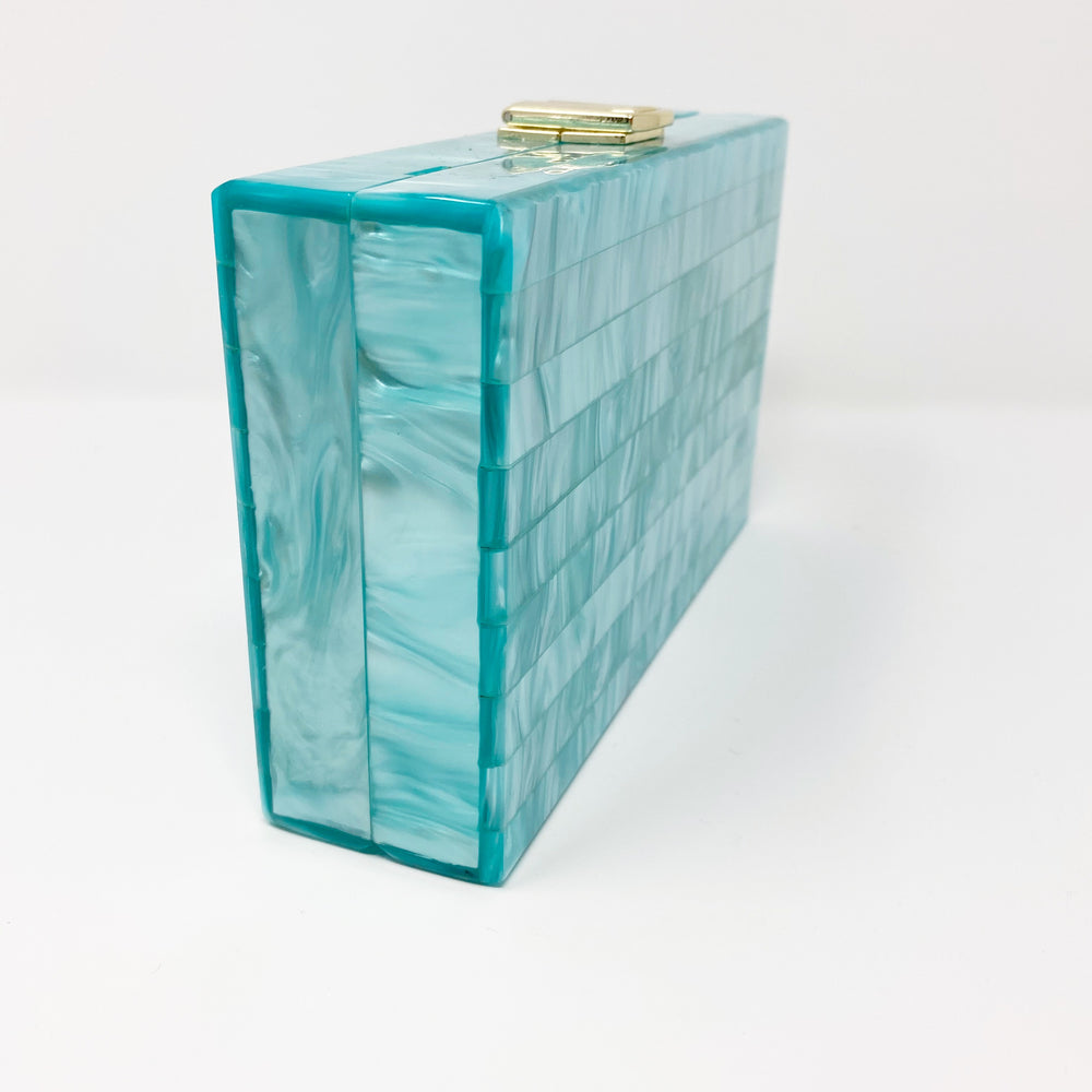 Acrylic Party Box in Teal Stripe