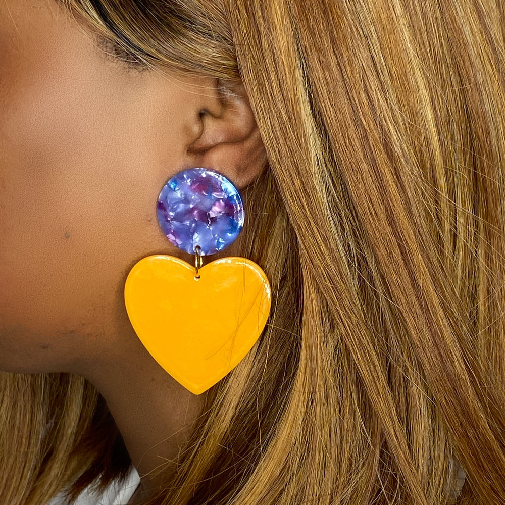Heart Earrings in Marigold