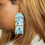 Double Fringe Earrings in Light Pink, Blue, White and Green
