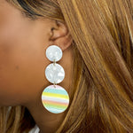 Dot Drop Earrings in Pastel Stripe
