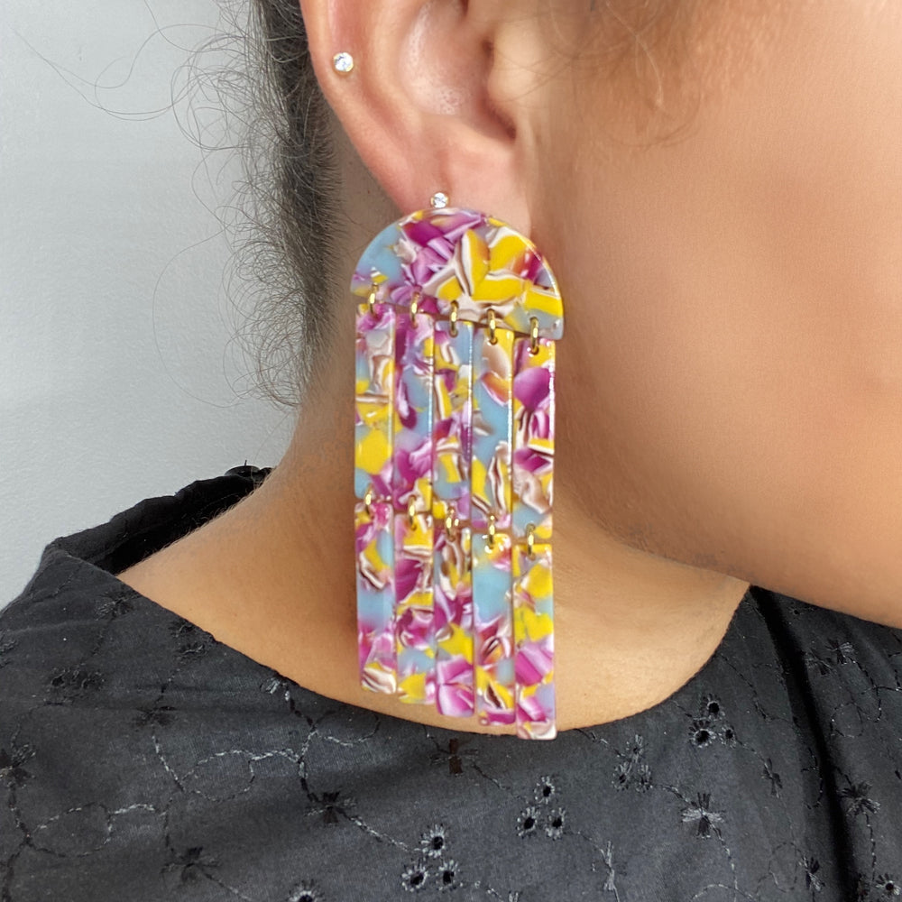 Double Fringe Earrings in Magenta, Lilac and Yellow