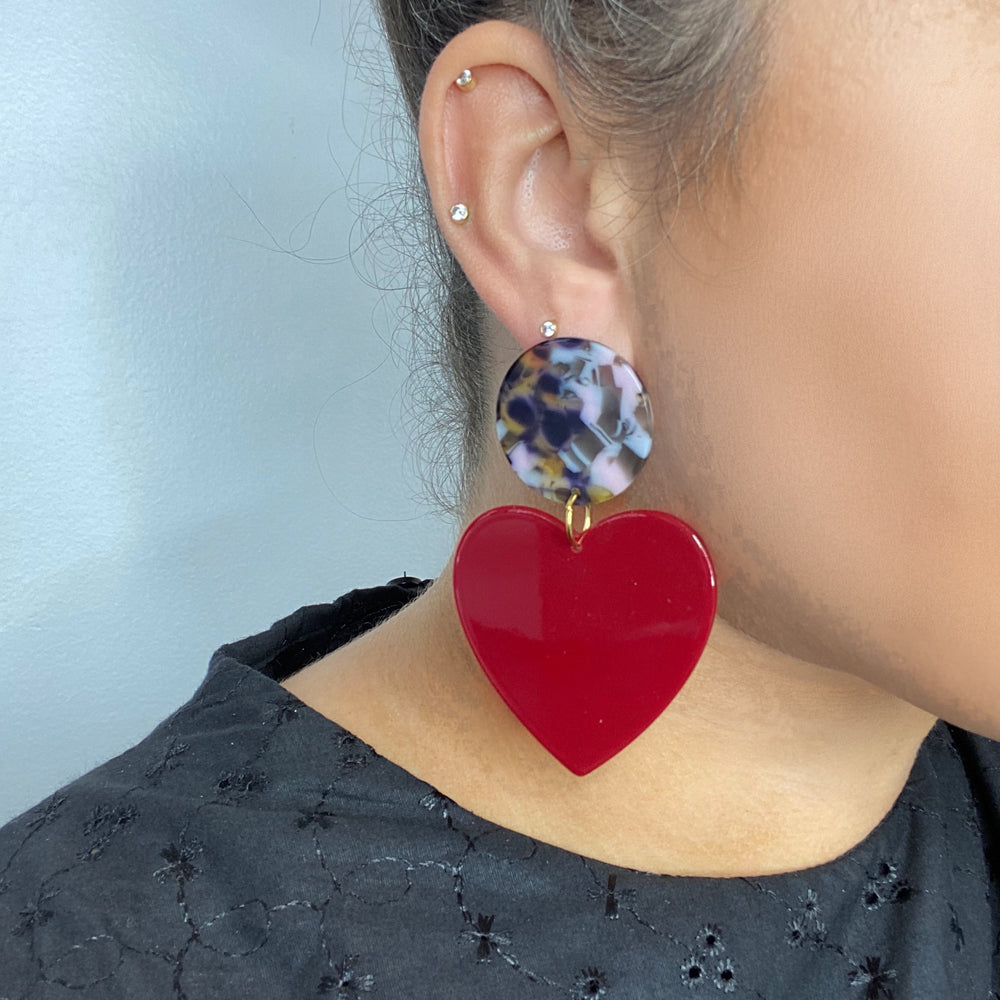 Heart Earrings in Burgundy