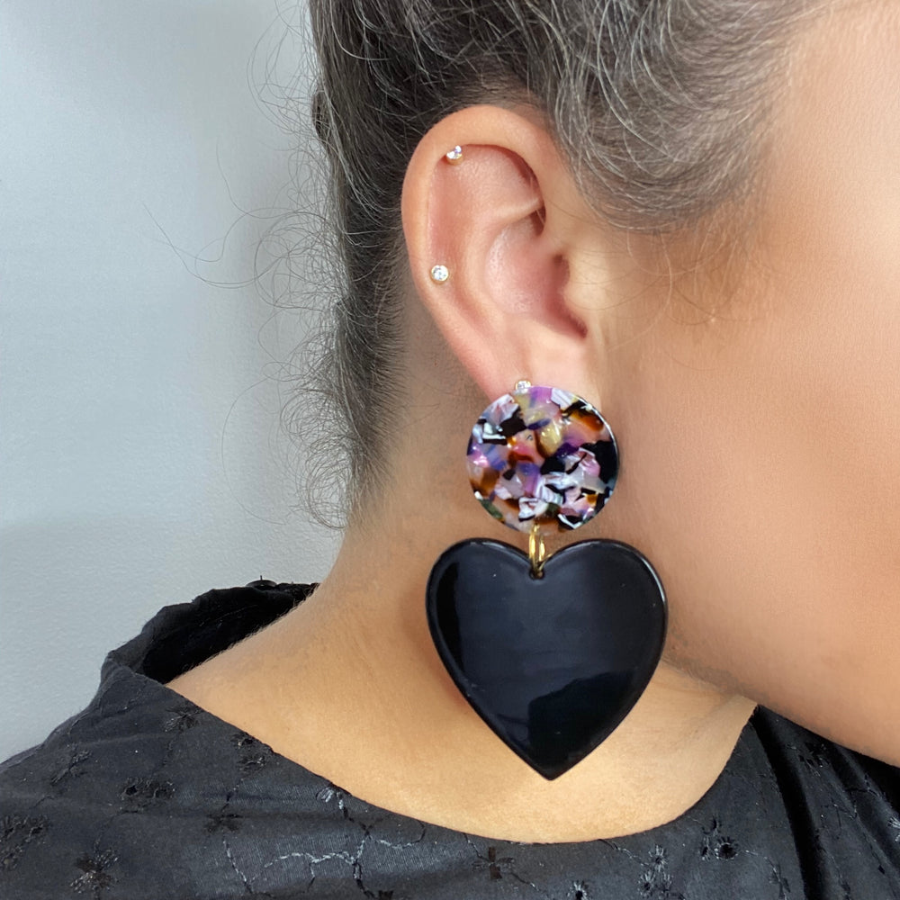 Heart Earrings in Black