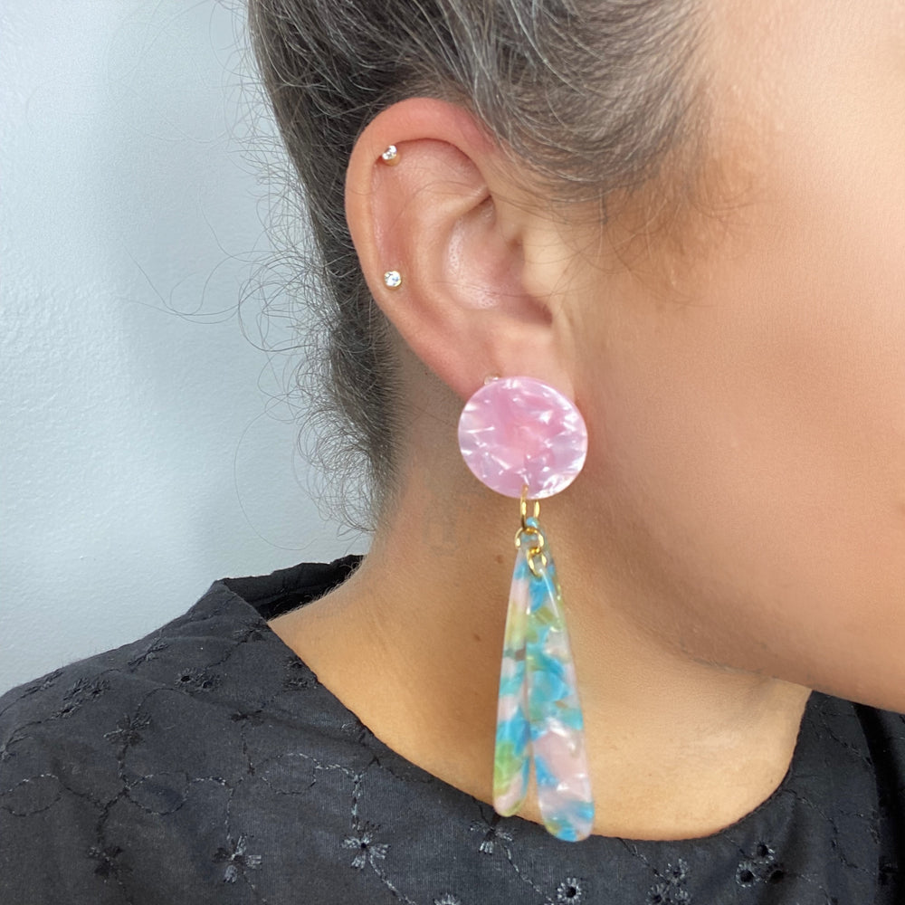 Petal Drops in Blue, Pink and Green with Pink Stud