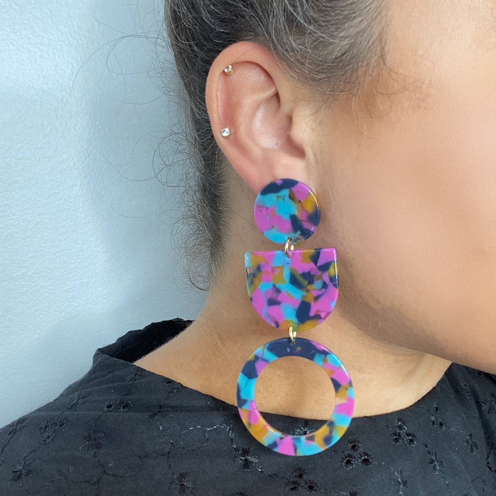 Tab and Hoop Drop Earrings in Pink, Blue and Yellow