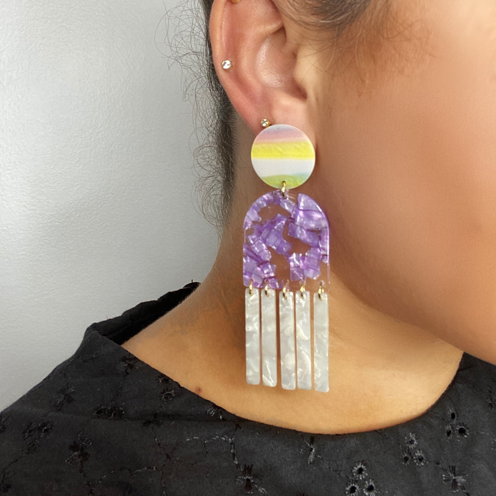 Tab and Fringe Earrings in Purple with White Fringe