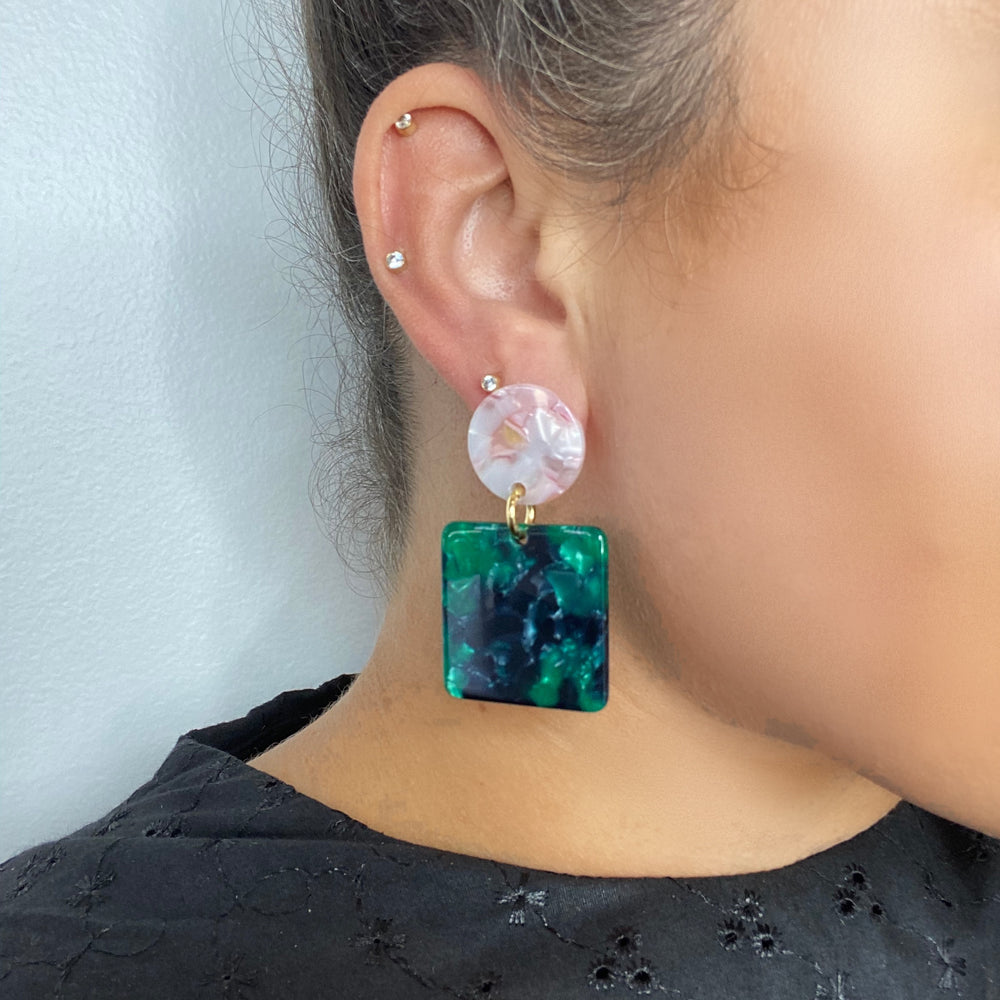 Square Drop Earrings in Green with Light Pink Stud