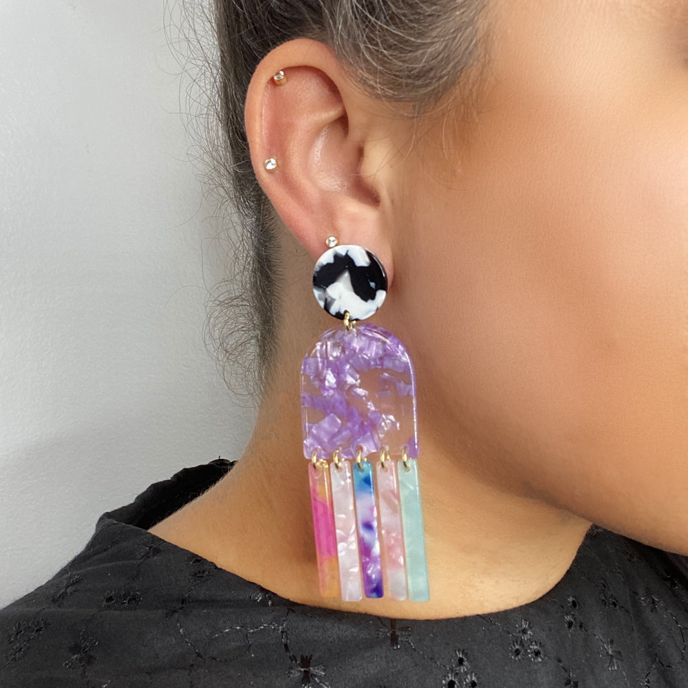Tab and Fringe Earrings in Purple with Unicorn Fringe