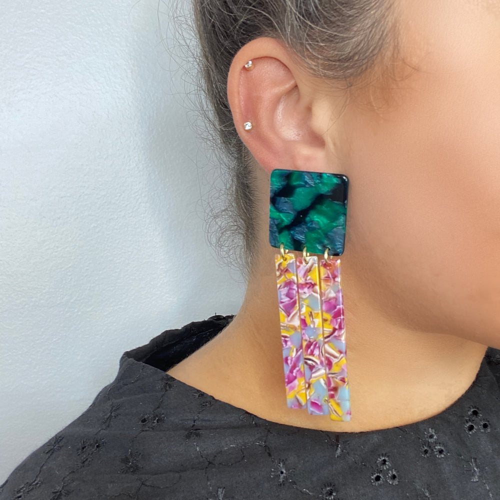 Square Fringe Earrings in Magenta, Lilac and Yellow with Green Stud