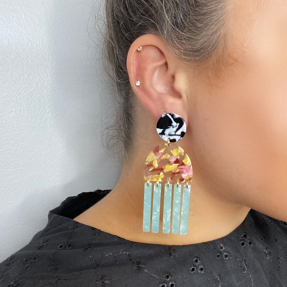 Tab and Fringe Earrings in Pink and Yellow with Teal Fringe