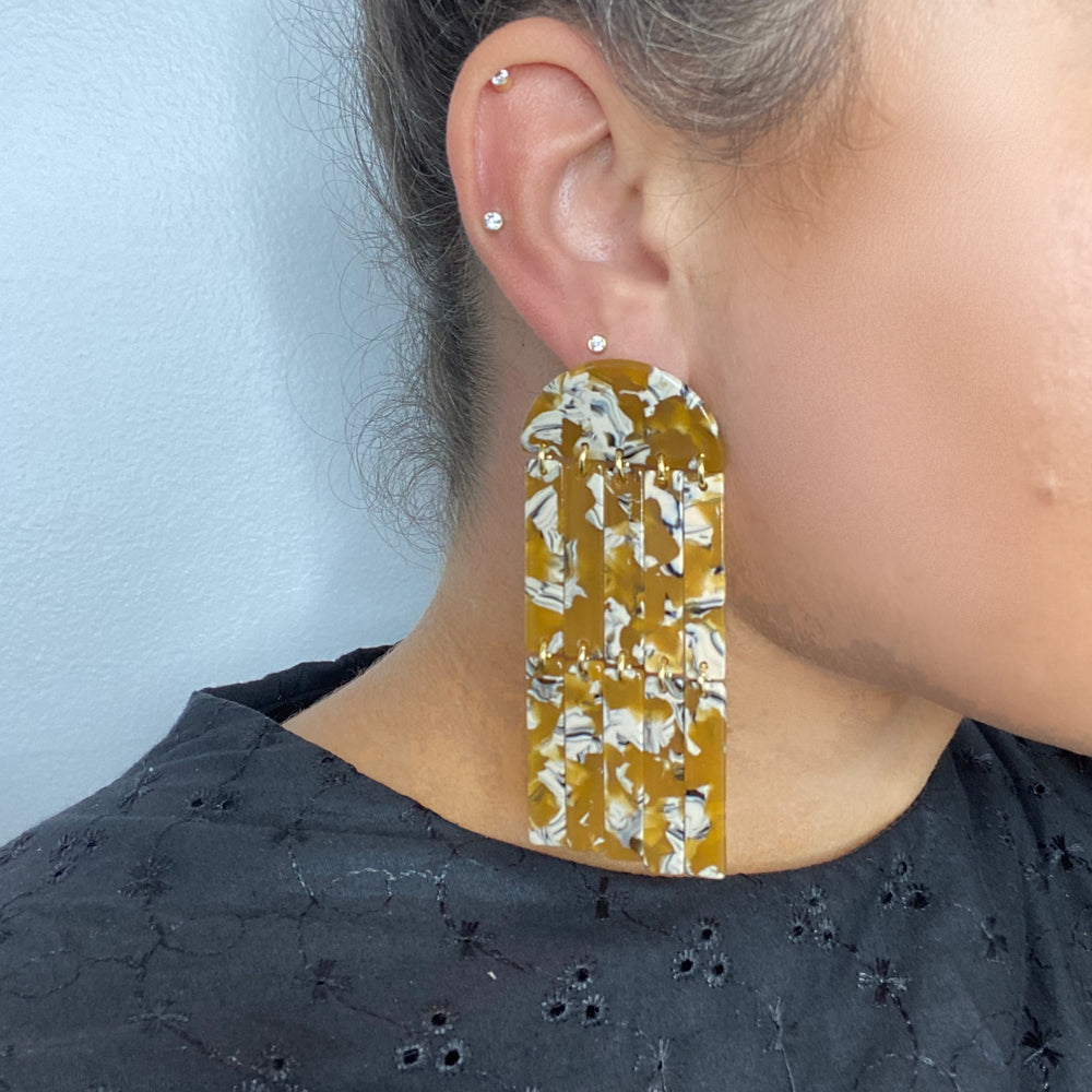 Double Fringe Earrings in Amber