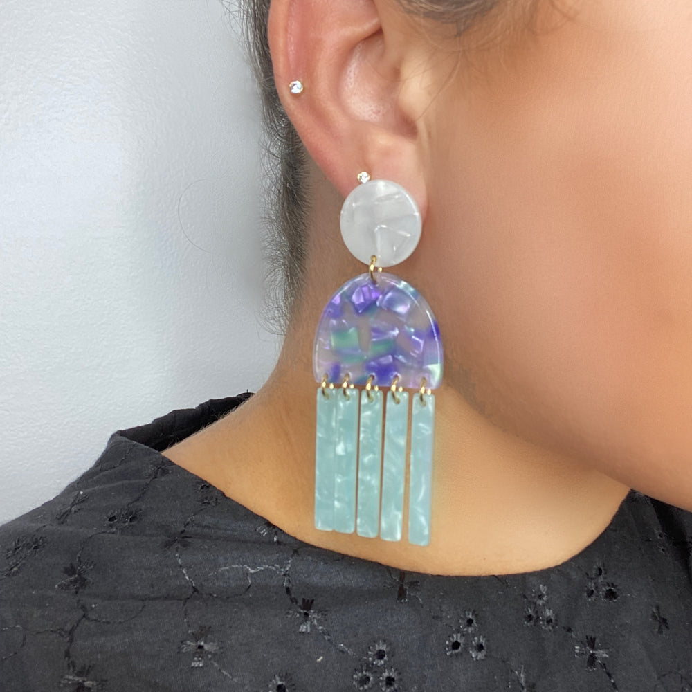 Tab and Fringe Earrings in Teal and Purple with Teal Fringe