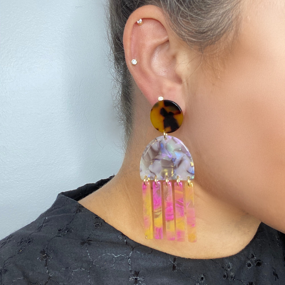 Tab and Fringe Earrings in Iridescent Gray with Pink and Yellow Fringe