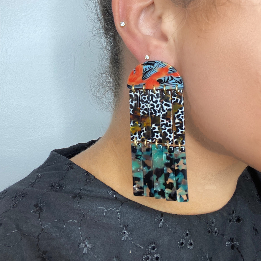 Double Fringe Earrings in Orange, Green and Brown
