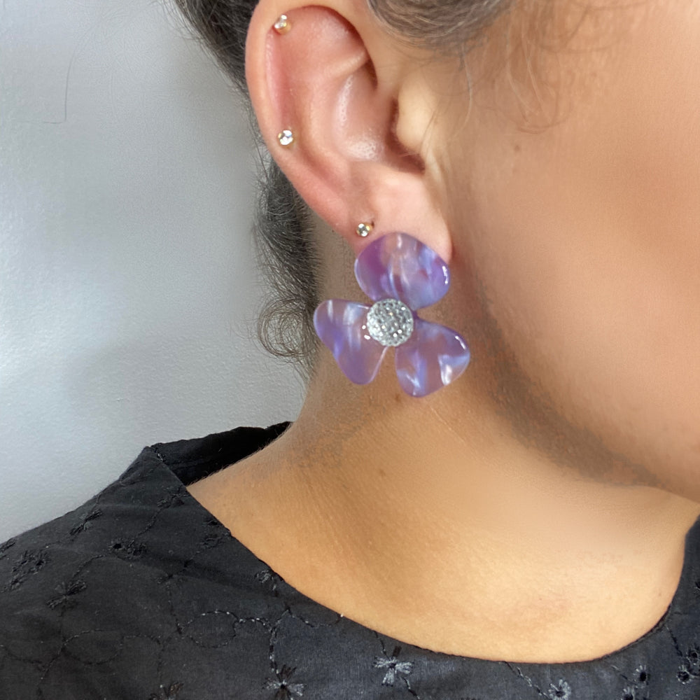 Crystal Water Poppy Studs in Purple