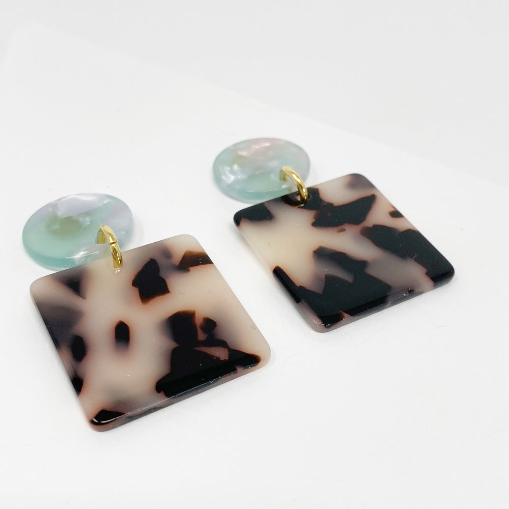Square Drop Earrings in Blond Tortoise with Teal Stud
