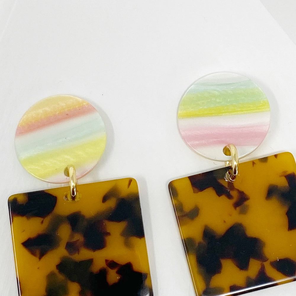 Square Drop Earrings in Tortoise with Pastel Stripe Stud
