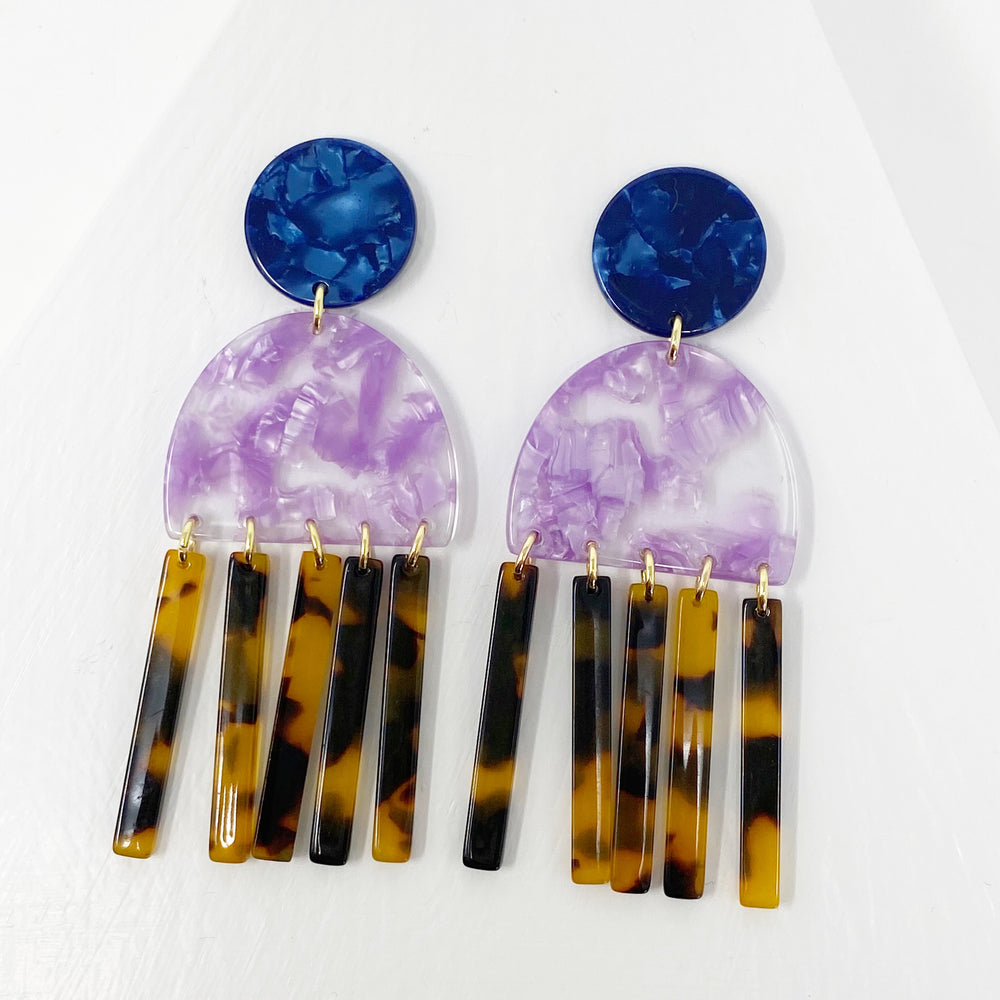 Tab and Fringe Earrings in Purple with Tortoise Fringe