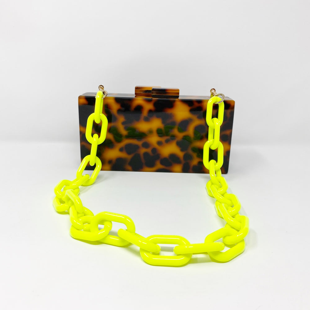 Chain Link Short Acrylic Purse Strap in Neon Yellow
