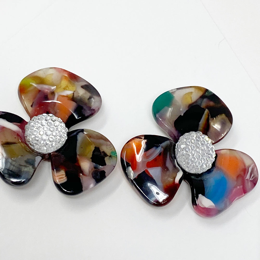 Crystal Water Poppy Studs in Multicolor