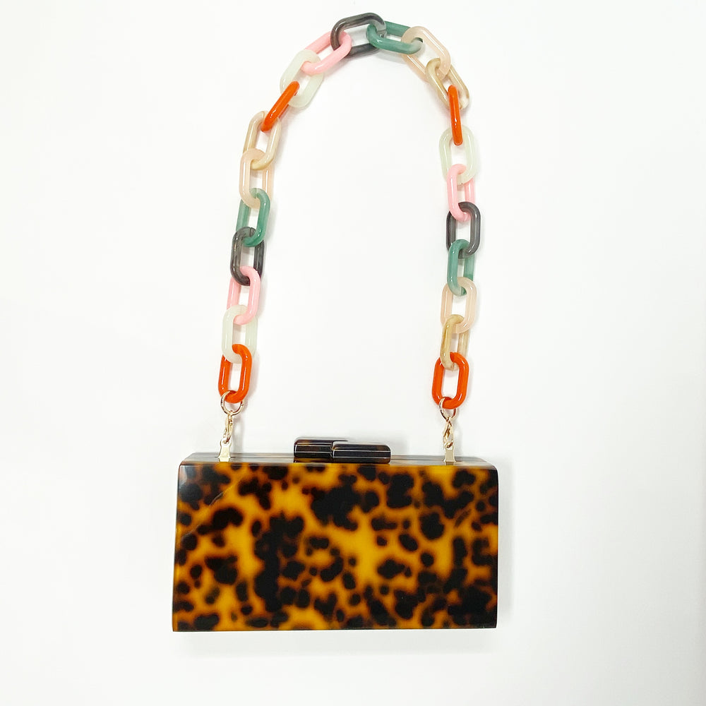Chain Link Short Acrylic Purse Strap in Light Multicolor