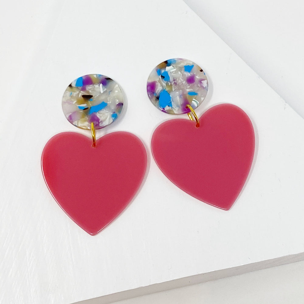 Heart Earrings in Pink