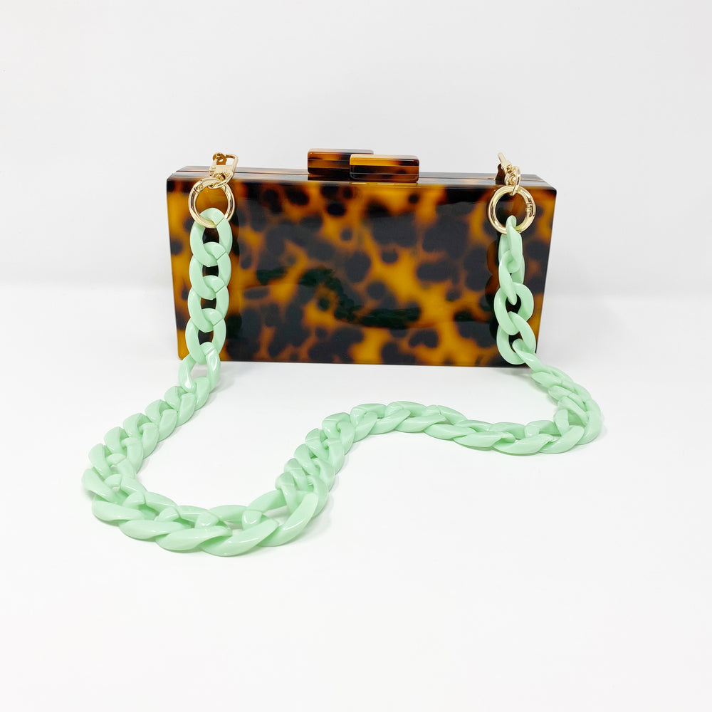 Chain Link Short Acrylic Purse Strap in Mint