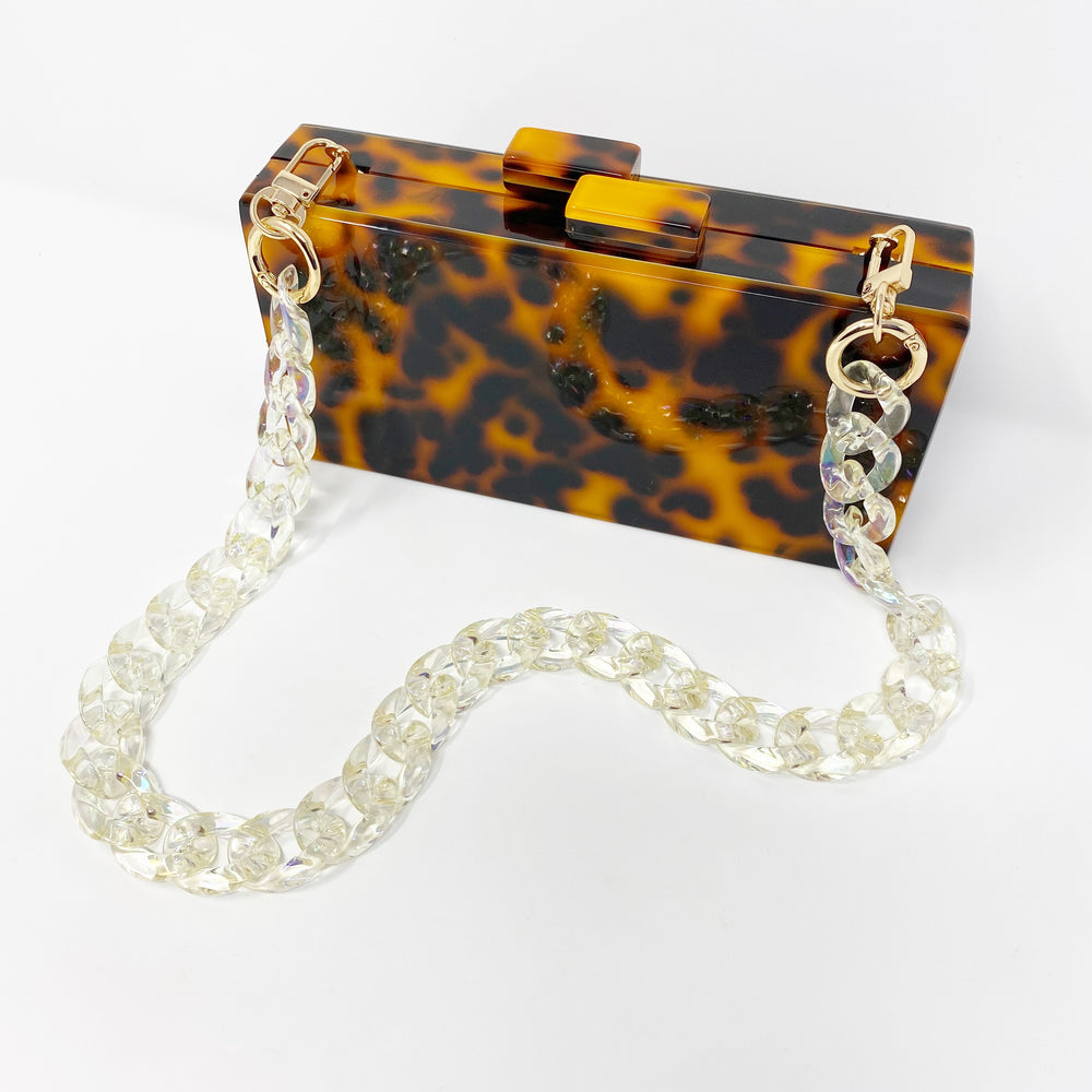 Chain Link Short Acrylic Purse Strap in Iridescent