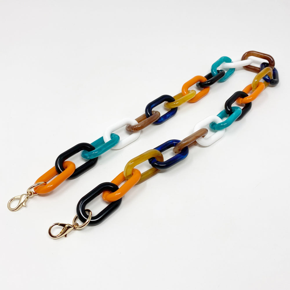 Chain Link Short Acrylic Purse Strap in Dark Multicolor