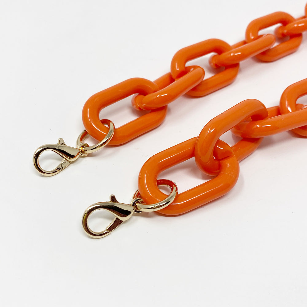 Chain Link Short Acrylic Purse Strap in Orange