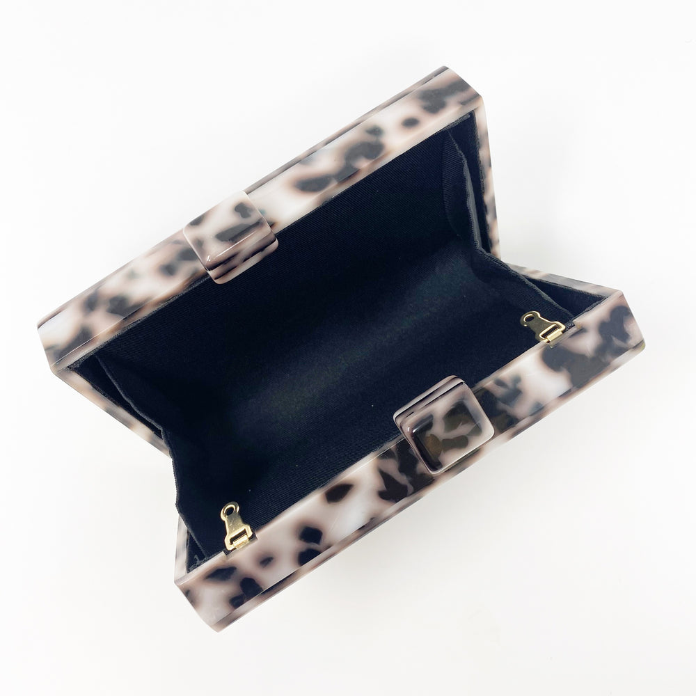 Acrylic Party Box in Black and White Tortoise