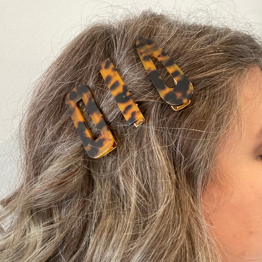 Hair Clip Trio in Tortoise