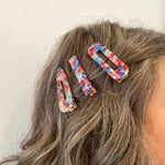 Hair Clip Trio in Blue and Red