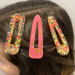Hair Clip Trio in Pink and Lavender Confetti